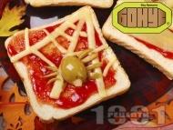 Рецепта Страшен сандвич за Хелоуин с кашкавал